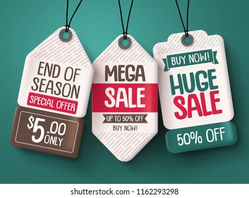 Sale tag vector set. Paper price tags with discount sale text hanging in a background for end of season shopping promotions. Vector illustration.