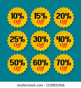 Sale tags 10, 15, 20, 25, 30, 40, 50, 60, 70 percent. Collection of discount badges, stamps, stickers, labels. Product promotion. Vector.