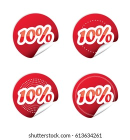 Sale tags with Sale up to 10% text on circle tags.Vector