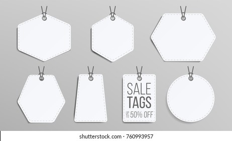 Sale Tags Blank Vector. White Empty Shopping Discounts Stickers. Template Discount Banners Set. Promotion Illustration