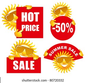 Sale tags with a cheerful sun. Use for advertising product or service.