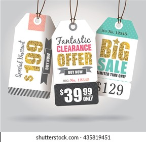 Sale tags with gold glitter texture.