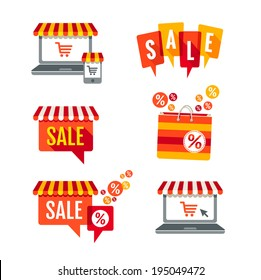 Sale tags, Laptop with awning and shopping bag icons set