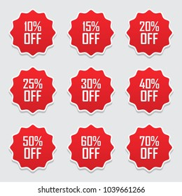 Sale tags set vector badges template, 10 off, 15 %, 20, 25, 30, 40, 50, 60, 70 percent sale label symbols, discount promotion flat icon with long shadow