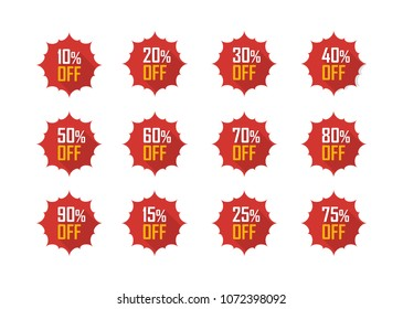 Sale tags set vector badges template, 10 off, 15 %, 20, 25, 30, 40, 50, 60, 70, 75 percent sale label symbols, discount promotion flat icon with long shadow, clearance sale sticker emblem