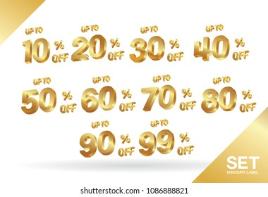 Sale tags set vector badges template, 10 off, 90 %, 20, 30, 40, 50, 60, 70, 80, 90, 99 percent sale label symbols, discount promotion 3 dimension gold , Promo tag discount offer