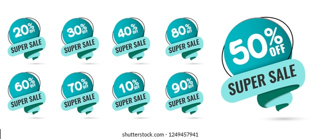 Sale tags set vector badges template, 10 off, 20 %, 90, 80, 30, 40, 50, 60, 70 percent sale label symbols, discount promotion flat icon with long shadow, clearance sale sticker emblem red rosette