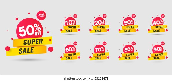 Sale tags set vector badges template, up to 10, 20, 90, 80, 30, 40, 50, 60, 70 percent off, vector illustracion.