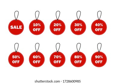 Sale tags set vector badges template, 10 off, 15 %, 20, 25, 30, 40, 50, 60, 70 percent off label symbols, discount promotion flat icon.