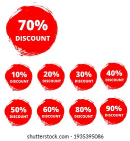 Sale tags set vector badges template, up to 10, 20, 90, 80, 30, 40, 50, 60, 70 percent off