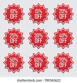 Sale tags set vector badges template, 10 off, 15 %, 20, 25, 30, 40, 50, 60, 70 percent sale label symbols, discount promotion flat icon with long shadow, clearance sale sticker emblem red rosette.