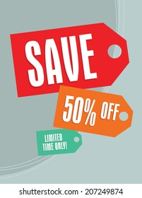 Sale tags sign with 50 percent off tag