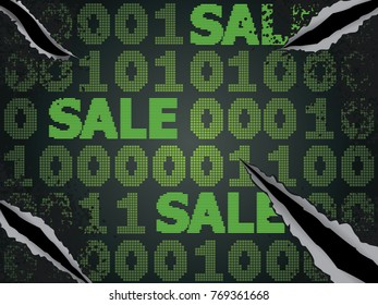 Sale technology background for cyber monday with computer code.