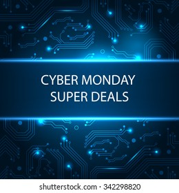 Sale technology banner for cyber monday