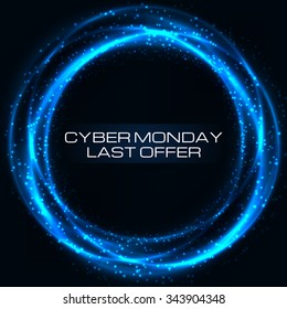 Sale technology banner for cyber monday. Vector art for your business.