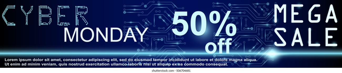 Sale technology banner. Cyber monday sales web elements with banners and discounts. Eps10 vector illustration.
