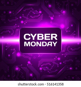 Sale technology banner for cyber monday event. Vector art for your sale promotion.