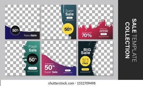 Sale template collection for promotion sale. Promotion sale square banner for social media, website, or internet ads. Vector illustration