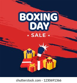 Sale template or poster design, sticker style text of Boxing Day with gift boxes and boxing glove on red and blue abstract background.