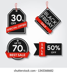 Sale template stickers. Black Friday discount icons. Save money stamp set. Red ribbon sales. Special offer. Limited time only. Vector illustration.