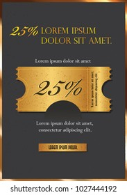 Sale text on gold tag banner for discount offer promotion isolated on black background vector illustration eps10