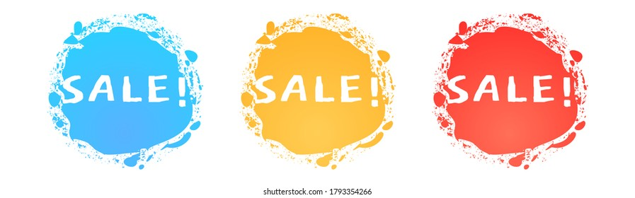 Sale text set on a bright brush spot backdrops with splatters as a design elements for promo and discount social network posts, stories, posters, banners, simple vector illustration.