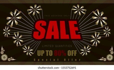 sale this weekend only up to 80% end of year special offer. vintage retro element firework explode from center. vector illustration eps10