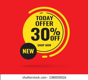 Sale this weekend special offer banner, up to 30% off. Vector illustration.
