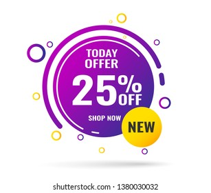 Sale this weekend special offer banner, up to 25% off. Vector illustration.