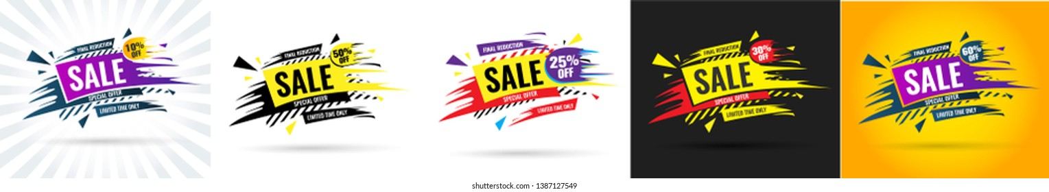 Sale this weekend special offer banner, up to 10 50 25 30 60% off. Vector illustration.