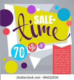 sale time, vector discount banner, flyer, card design template