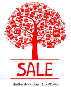 Sale tree isolated on White background. Vector illustration