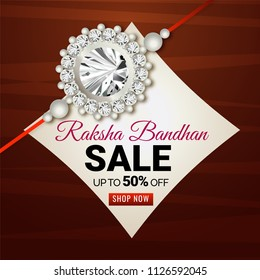 Sale upto 50% discount banner or flyer design with wooden textured background and beautiful rakhi (wristband) for Raksha bandhan concept.
