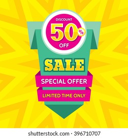 Sale vector banner design - discount 50% off. Special offer origami layout. Limited time only! Abstract poster background. Flyer sticker.