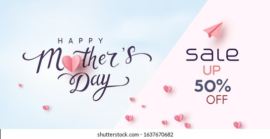 Sale vector banner with pink paper hearts. Special offer poster background. Vector Mother's Day sale discount promotion.