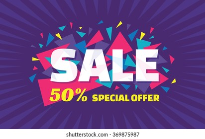 Sale vector horizontal banner - 50% special offer. Layout with triangle elements. Abstract veiolet background. Design concept.