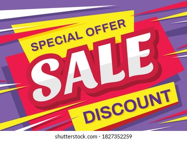 Sale - vector horizontal banner template concept illustration. Discount abstract layout. Special offer. Design element.