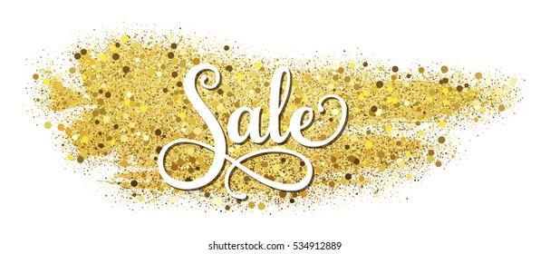 Sale - vector inscription on gold glitter