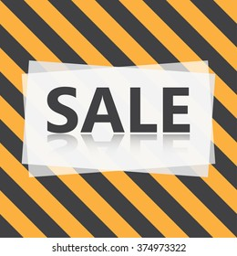 Sale vector label with yellow and black diagonal stripes background. Eps10.