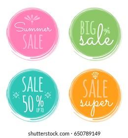 Sale vector labels. Summer seasonal sale painted stickers