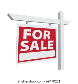 For Sale Vector Real Estate Sign Ready For Your Own Message.