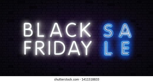 Sale Vector realistic isolated neon sign of Black Friday lettering for decoration and covering on the transparent background. Concept of sale, clearance and discount.