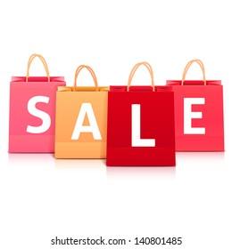 Sale vector shopping bag set