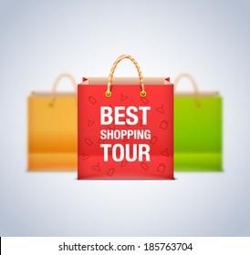 Sale vector shopping bag set. Best shopping tour bag