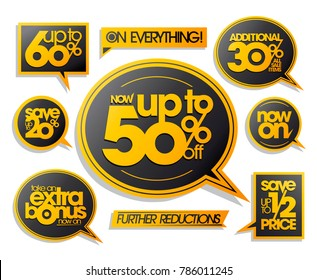 Sale vector stickers and speech bubbles set - further reductions, 20%, 30%, 50% and 60% off, extra bonus