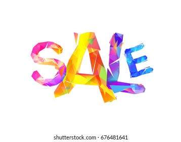 Sale. Vector word of colorful triangular letters