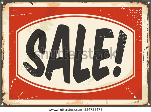 Sale Vintage Tin Sign Retro Ad Stock Vector (Royalty Free