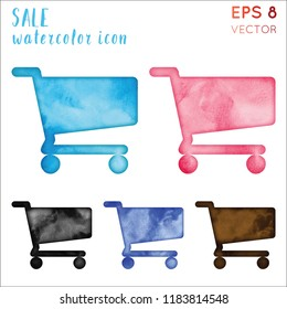 Sale watercolor icon set. Actual hand drawn style symbol. Uncommon painting. Modern design for infographics or presentation.