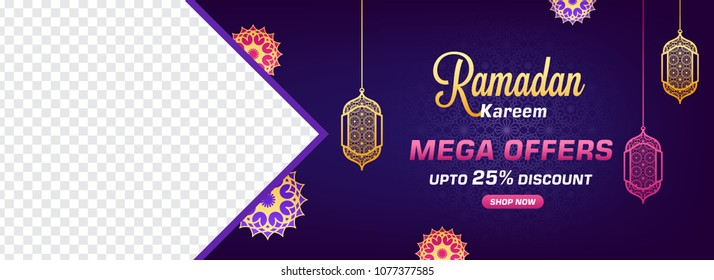 Sale web banner or header design with hanging lanters, and upto 25% off offers, space your product images on blue background.
