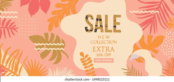 Sale website banner. Sale tag. Sale promotional material vector illustration. Design for ad, social media banner, brochure, email, flyer, leaflet, newsletter, placard, poster, web sticker
